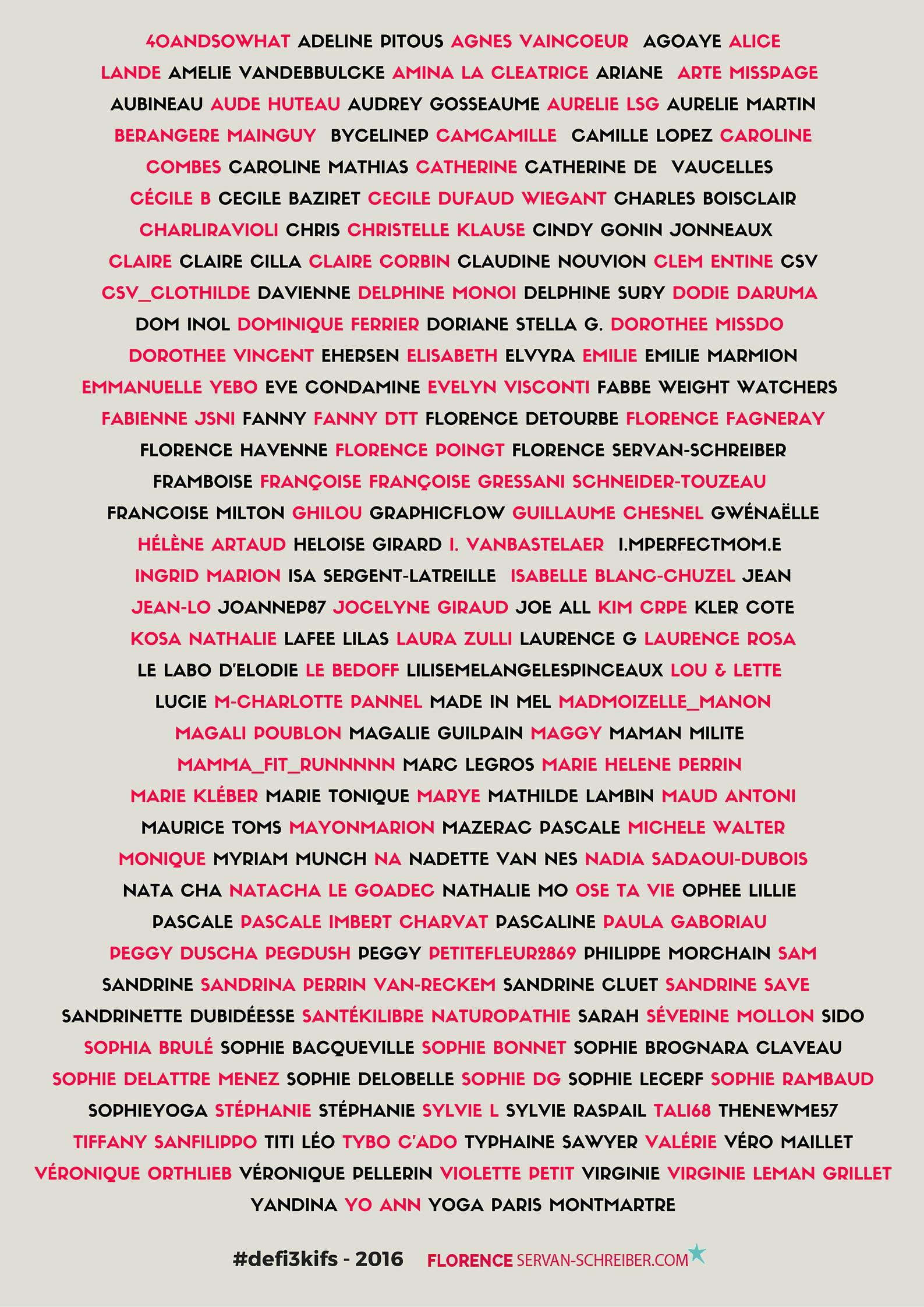 Participants du #defi3kifs 2016