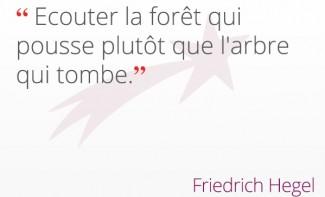 « Ecouter la forêt qui pousse plutôt que l'arbre qui tombe. » Friedrich Hegel