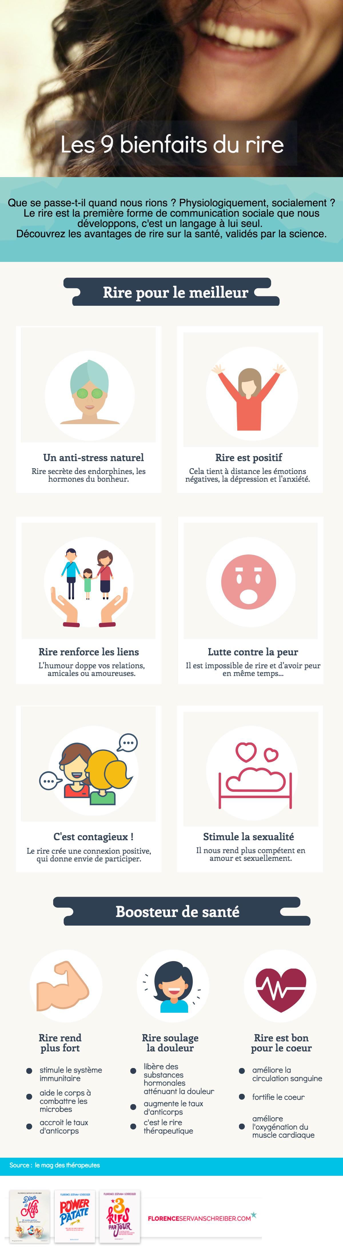 Infographie les 9 bienfaits du rire