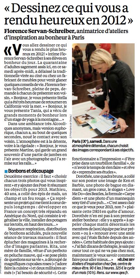 """""""Dessinez ce qui vous a rendu heureux en 2012"""", Florence Servan-Schreiber - Le Parisien Aujourd'hui en France"""