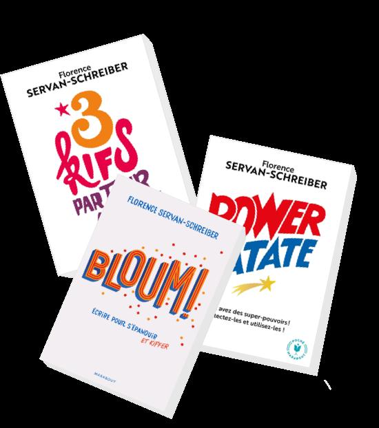 livres : Bloum!, 3 kifs par jour et Power Patate par Florence Servan-Schreiber