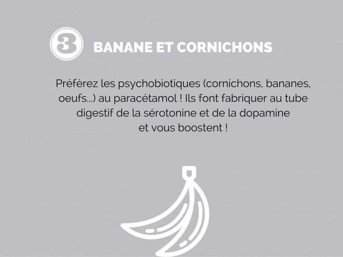 5 conseils de bonheur : manger des bananes et des cornichons
