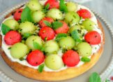 Tarte à la menthe, melon vert et pastèque