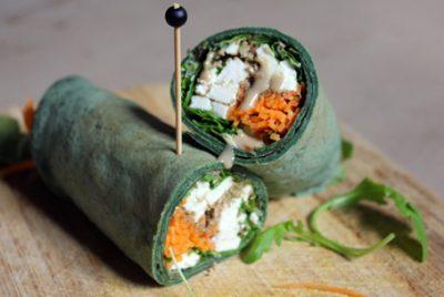 Recette de Wrap à la spiruline, carotte et feta !