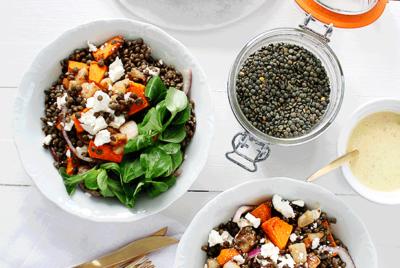 Recette de la Salade de lentilles aux poires, courges rôties